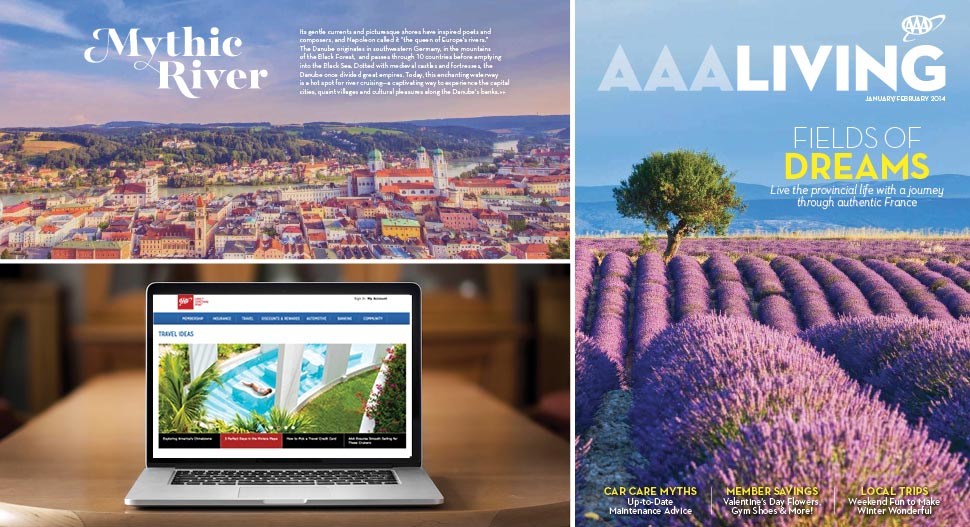 The print magazine, AAA Living, goes to 4.9 million member households and uses numerous throws and messaging to drive readers to digital channels, such as Travel Ideas (pictured).