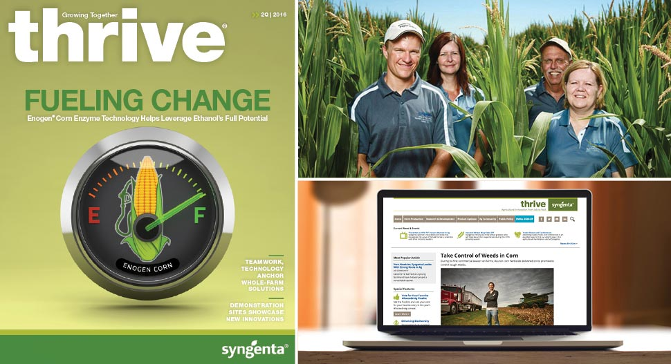 With both print and digital content, Thrive covers a wide range of topics, including news on crops like corn, soybean, wheat, cotton, and many fruits and vegetables, as well as stories from workers and employees. Here we see employees at the Syngenta Colorado Stress Environment site in LaSalle, Colorado.