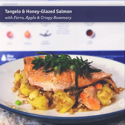 Tangelo and Honey-Glazed Salmon with Farro, Apple and Crispy Rosemary